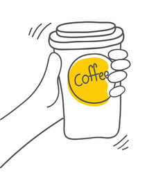 Coffee break cup of coffee in hand on white vector