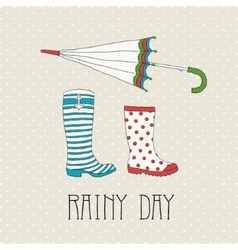 Colored rubber boots with umbrella vector