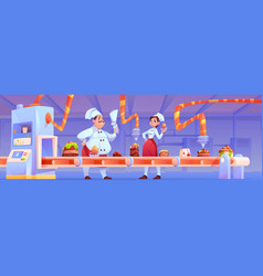 confectioners on candy factory decorate production vector image