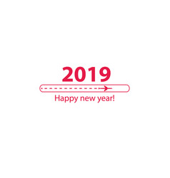 creative happy new year 2019 design with progress vector image