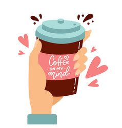 Customer hand holding paper coffee cup with love vector