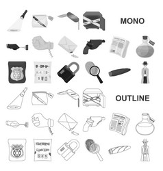 Detective agency monochrom icons in set collection vector