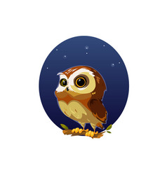 Digital funny cartoon owl vector