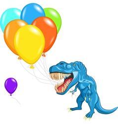 Dinosaur tyrannosaurs with balloons vector
