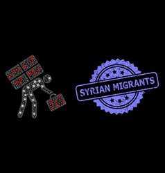 Distress syrian migrants stamp and bright web net vector