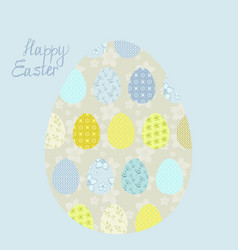 eggs easter greeting card with patterns and letter vector image