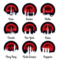Emblems and badge city skyline vector