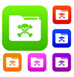 File folder with a skull set collection vector