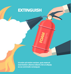 fire extinguishing hands holding vector image