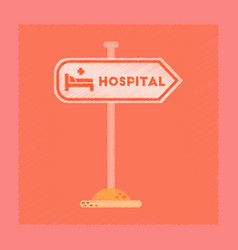 Flat shading style icon hospital sign vector