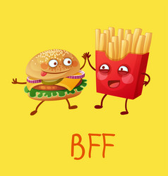Funny fastfood characters best friends forever vector