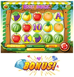 Game template with fruits vector