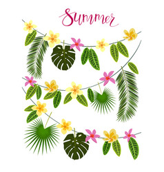 Garlands with tropical leaves and flowers vector