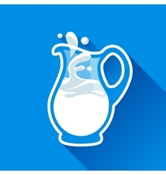 Glass milk jug with splash fresh vector