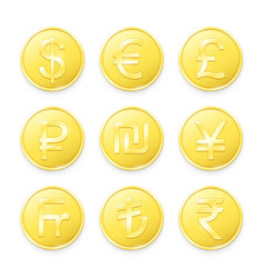 Gold coins with symbols top world currencies vector