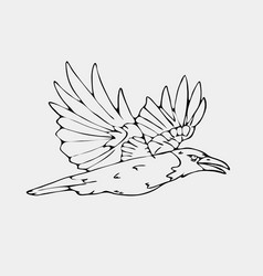 Hand-drawn pencil graphics small bird vector