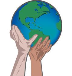 hand holding globe social network vector image