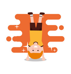 happy boy standing on his hands vector image