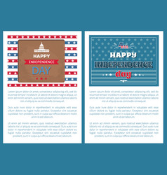 happy independence day posters washington capitol vector image