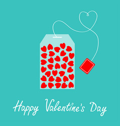 happy valentines day teabag with red heart set vector image