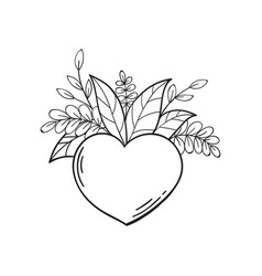heart with green leaves symbol of love and life vector image