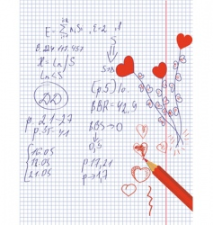 Hearts in the math notebook vector