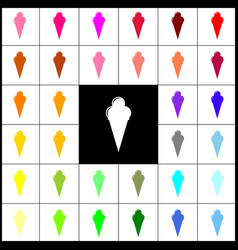 ice cream sign felt-pen 33 colorful icons vector image