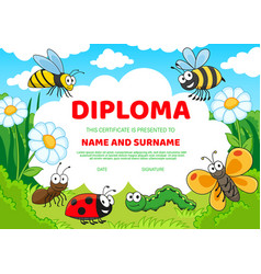 Kids diploma certificate with cartoon insects vector