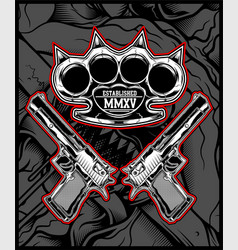 knuckle and gun hand drawing vector image