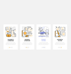 Literary genres - line design style web banners vector