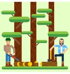 Lumberjack with axe and saw in the forest vector image