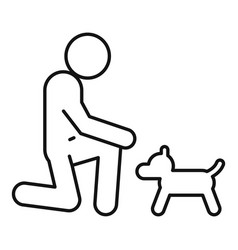 Man adopt dog icon outline style vector