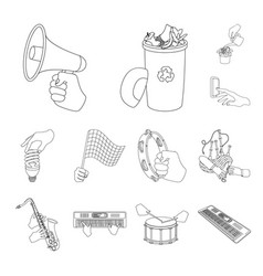 manipulation by hands outline icons in set vector image