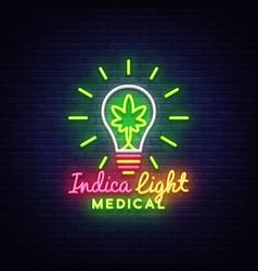 Marijuana medical logo neon design concept vector