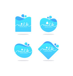 Milk and dairy product logo label emblem with vector