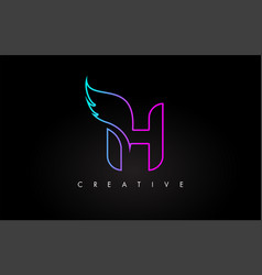 Neon h letter logo icon design with creative wing vector