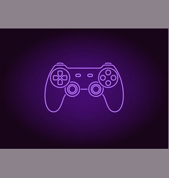 Neon icon of violet joystick vector