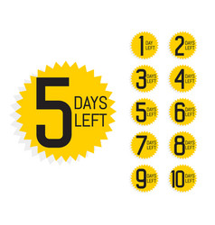 Number of days left label for sale and promotion vector
