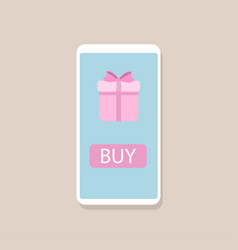 online gift concept smartphone with gift box vector image