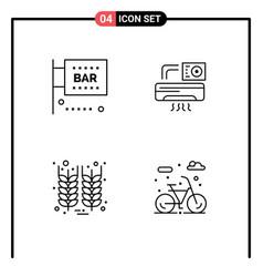 Pack 4 creative filledline flat colors bar vector