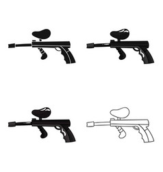 Paintball gun icon in cartoon style isolated on vector