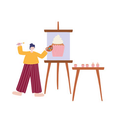 people activities woman artist drawing on canvas vector image