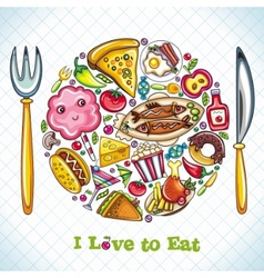 Plate with food vector