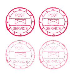 post service red faded round stamp vector image