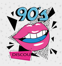 Poster discount with lips sexy nineties vector