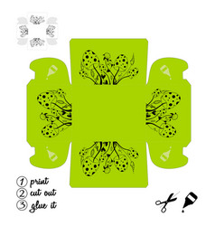 Printable box with wild mushrooms create box for vector