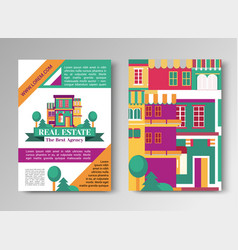 Real estate flat brochure set with house logo vector