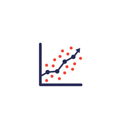 Regression analysis icon with graph vector