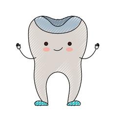 Restored tooth cartoon in colored crayon vector