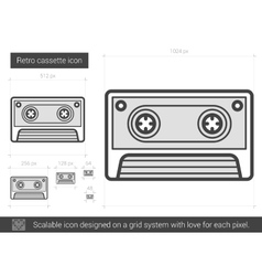 Retro cassette line icon vector image